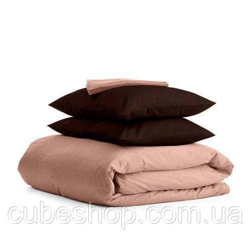 Комплект полуторного постельного белья BEIGE CHOCOLATE-P (хлопок, сатин)