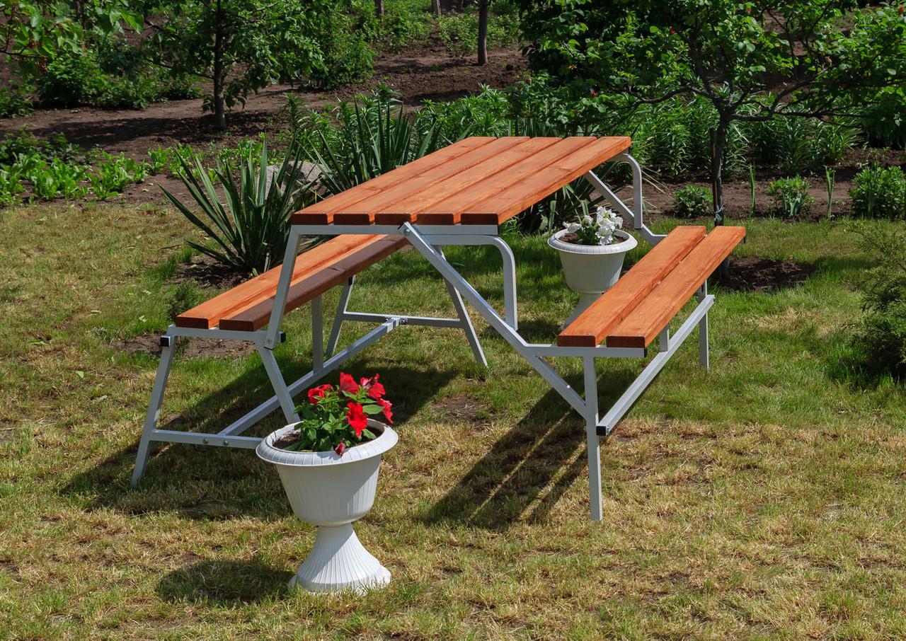 Набор садовой мебели стол-скамейки Трансформер Атлант 3 в 1 Nk Plast Серый-Тик