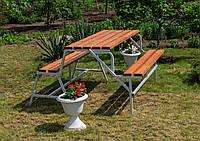 Набор садовой мебели стол-скамейки Трансформер Атлант 3 в 1 Nk Plast Серый-Тик, фото 1