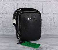 Малая сумка мужская, борсетка кожаная Prada 6030-1 черная, фото 1