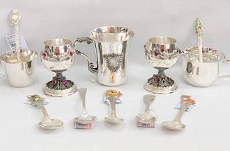 Посуда из серебра (ложки, рюмки, стопки, фляги)/Посуд зі срібла (ложки, чарки, стопки, фляги)