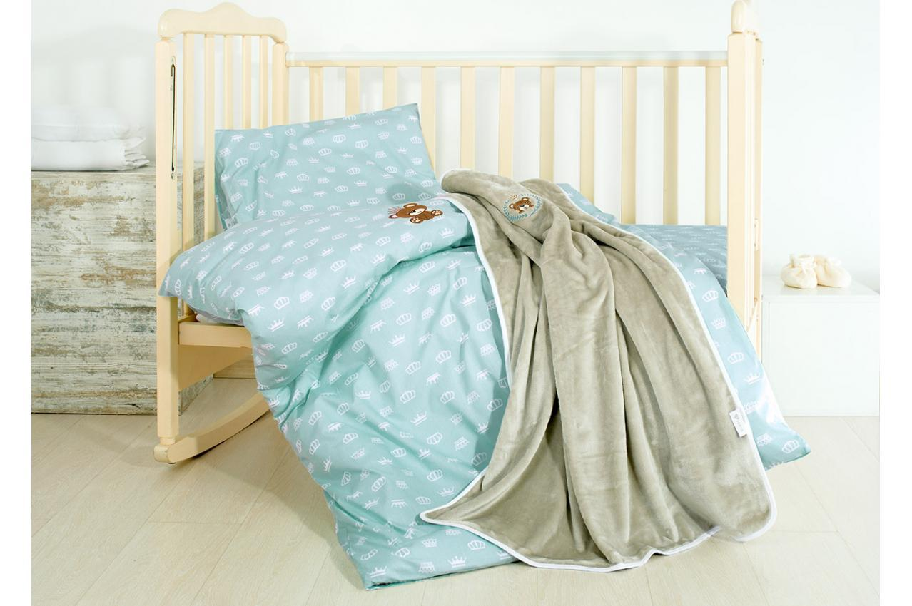 Постельное бельё в кроватку Корона (Мята) + пледик