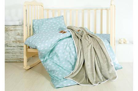 Постельное бельё в кроватку Корона (Мята) + пледик, фото 2