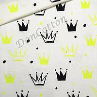 Фланель Короны ярко-желтые и черные