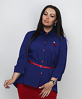Стильная рубашка с поясом, с 48-64 размер, фото 1