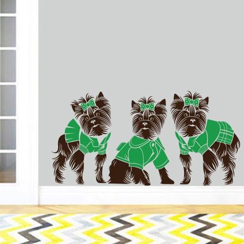 Интерьерная виниловая наклейка на стену Маленькие йорки (наклейки животные собаки щенки на обои) матовая