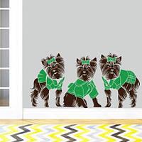 Интерьерная виниловая наклейка на стену Маленькие йорки (наклейки животные собаки щенки на обои) матовая, фото 1