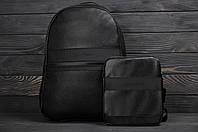 Рюкзак + сумка мессенджер городской стильный из качественной PU эко кожи Calvin Klein, цвет черный