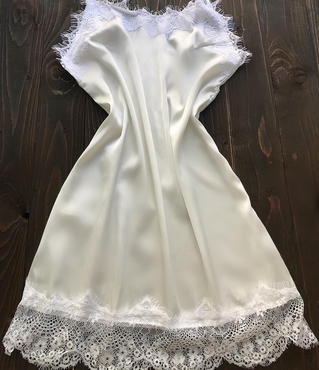 Женский шелковый пеньюар С-М молочный