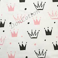 Фланель Короны розовые  и графитовые