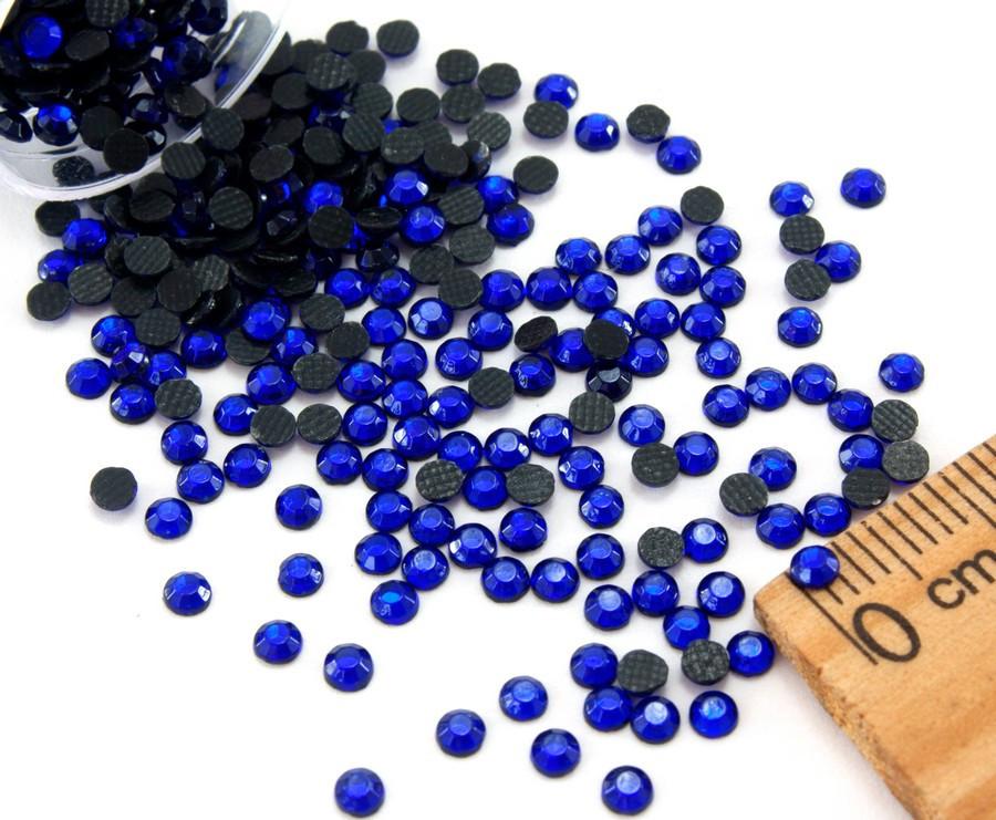 (10грамм ≈ 900-1000шт) Стразы SS10 стеклянные (2,7-2,9мм) термоклеевые Цвет - Синий