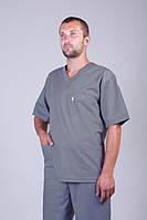 Медицинский костюм мужской серого цвета с коротким рукавом размер 42-60