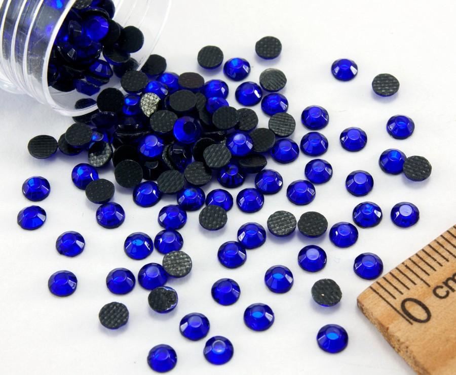 (10грамм ≈ 400шт)  Стразы SS16 стеклянные (3,7-4мм) термоклеевые Цвет - Синий