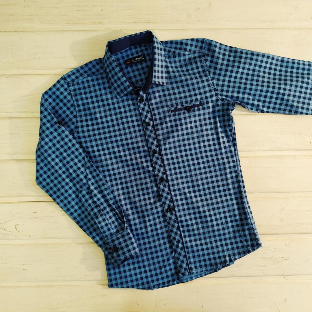 ✅Рубашка в школу Рубашка голубая в мелкую клеточку для мальчика Размеры 128-134 152-158