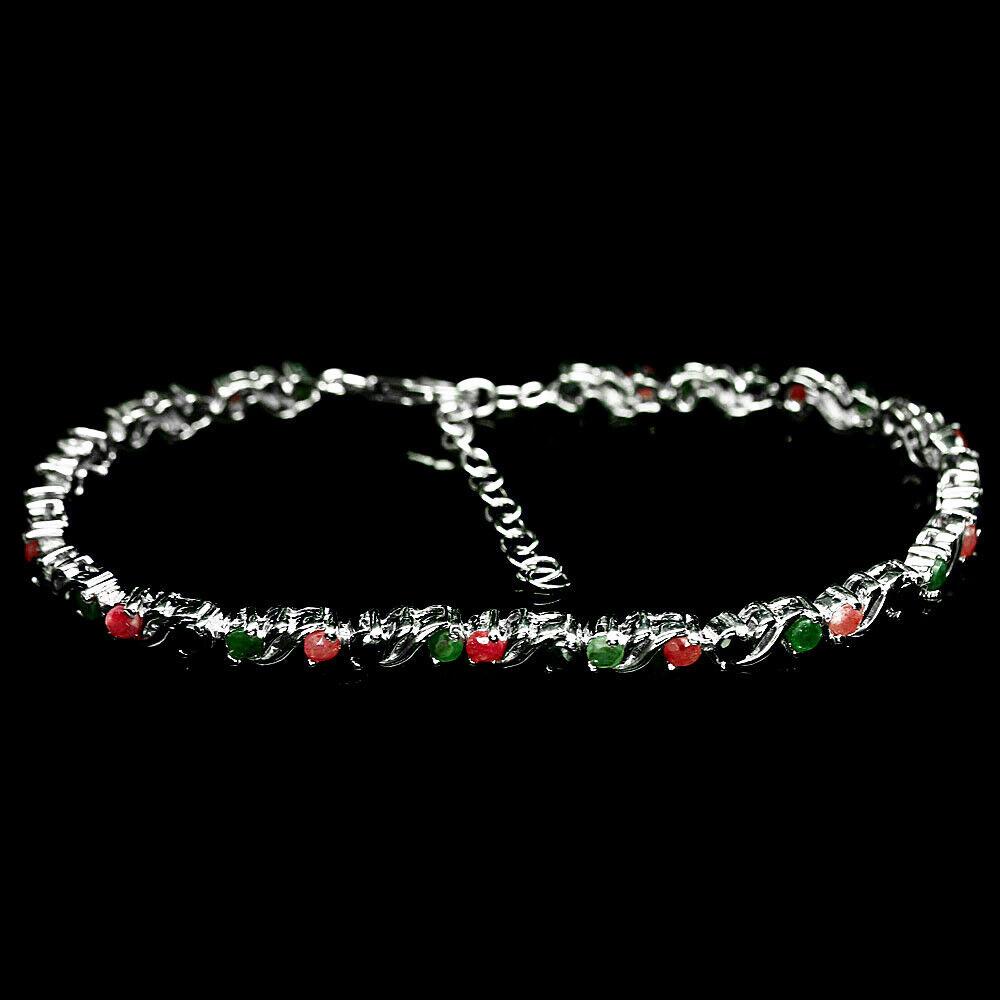 Серебряный браслет с изумрудом, рубином и сапфиром, 221БС
