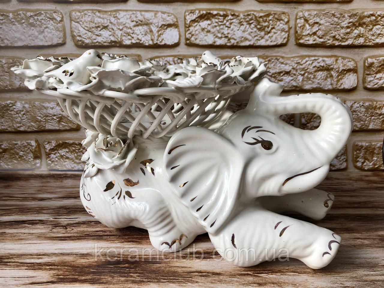 """Конфетница-слон """"Клео"""" плетенка Белая лепка 24*25*25"""
