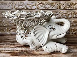 """Цукерниця-слон """"Клео"""" плетінка Біла ліплення 24*25*25"""