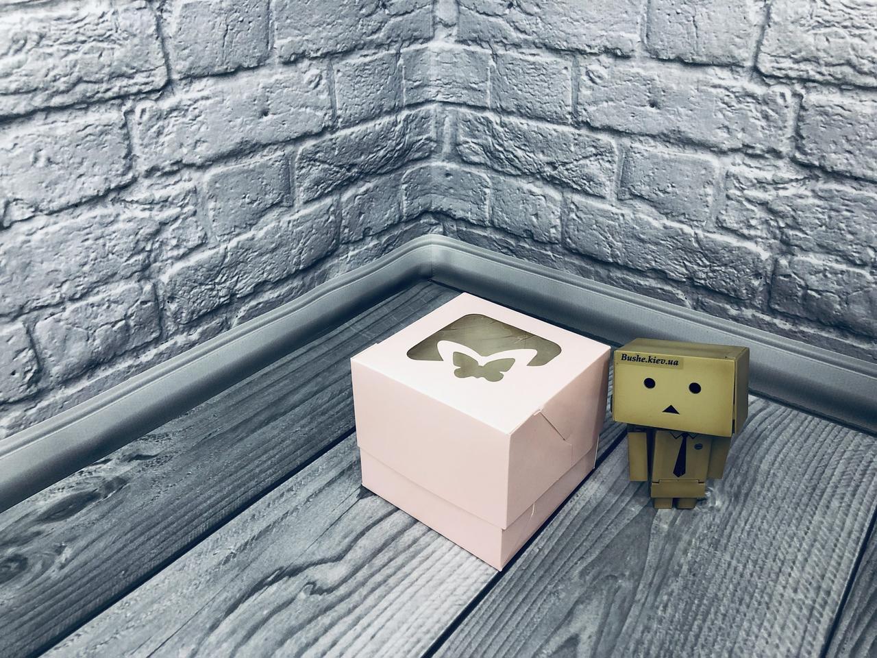 Коробка для 1-ого кекса / 100х100х90 мм / печать-Пудр / окно-бабочка / лк
