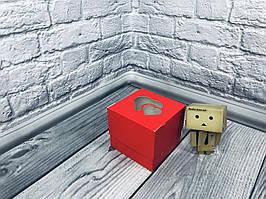 *10 шт* / Коробка для 1-ого кекса / 100х100х90 мм / печать-Красн / окно-2 Сердц / лк