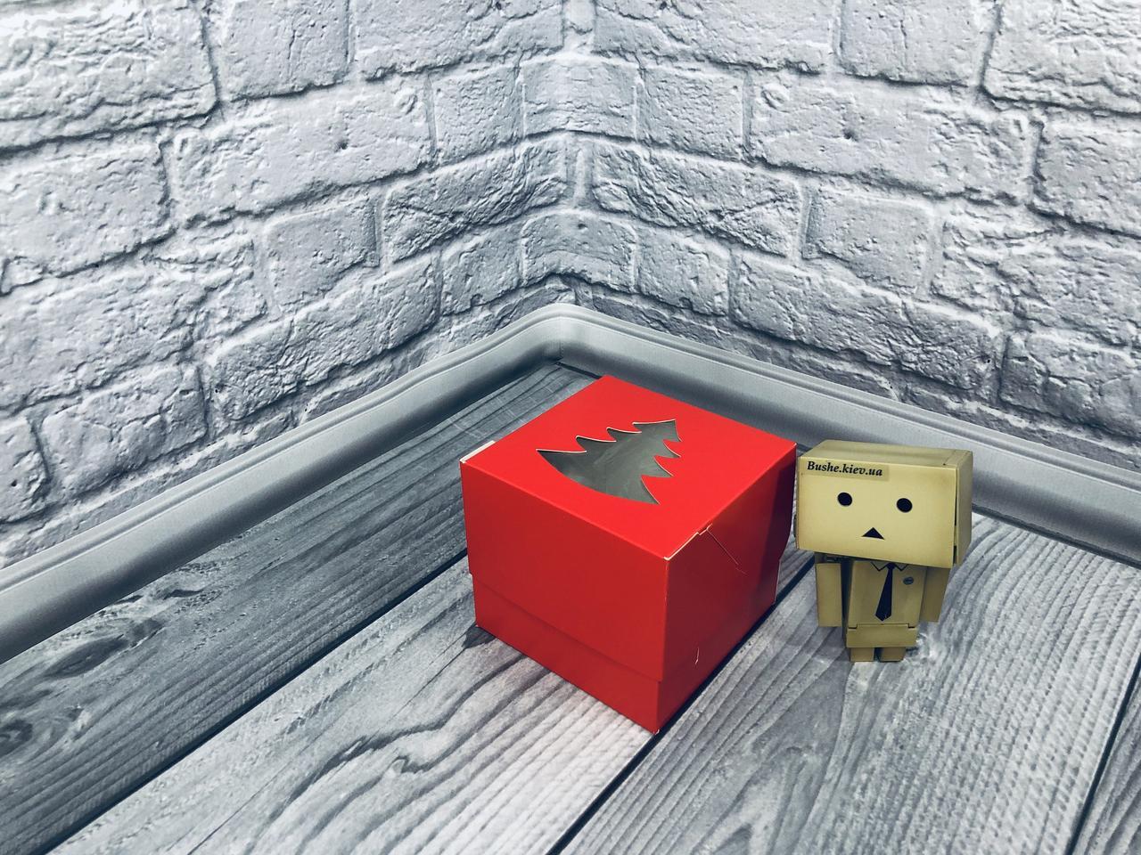 *10 шт* / Коробка для 1-ого кекса / 100х100х90 мм / печать-Красн / окно-Елка / НГ