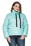 Демисезонная короткая женская куртка декорирована кольцами. Размеры с 50 по 56. Четыре цвета. Код Верона