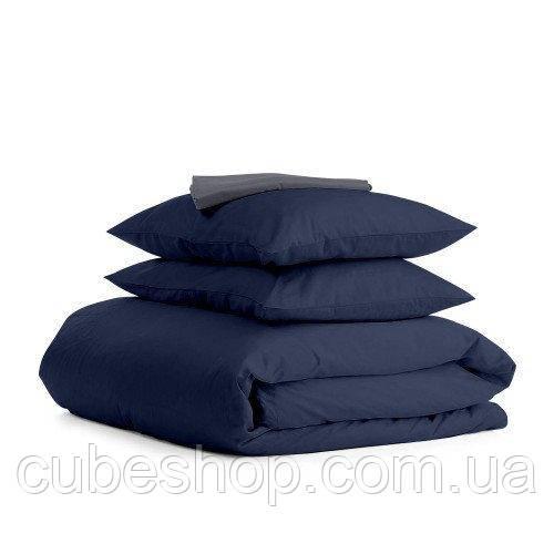 Комплект полуторного постельного белья DARK BLUE GREY-S (хлопок, сатин)