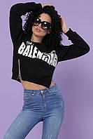 Женский модный короткий черный свитшот оверсайз с молниями и лого Balenciaga Logo1 кофта Тильда д/р