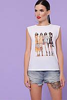 Летняя белая блузка без рукава принт Summer футболка Киви б/р