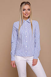 Деловая женская рубашка в полосочку длинный рукав блуза Рубьера д/р синяя