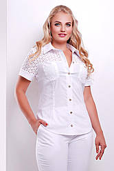 Женская белая блузка большого размера с короткими рукавами и прошвой блуза Фауста-Б к/р