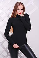 Женский базовый черный гольф-резинка под горло Классический-2 д/р