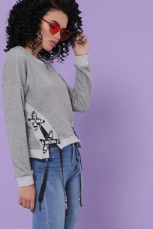 Женский укороченый свитшот со шнуровками по бокам кофта Хильда д/р серый, фото 2