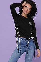 Модный женский свитшот со шнуровками сбоку Хильда д/р черный