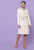 Классическое прямое женское демисезонное пальто кашемир П-316-100-К молочного цвета