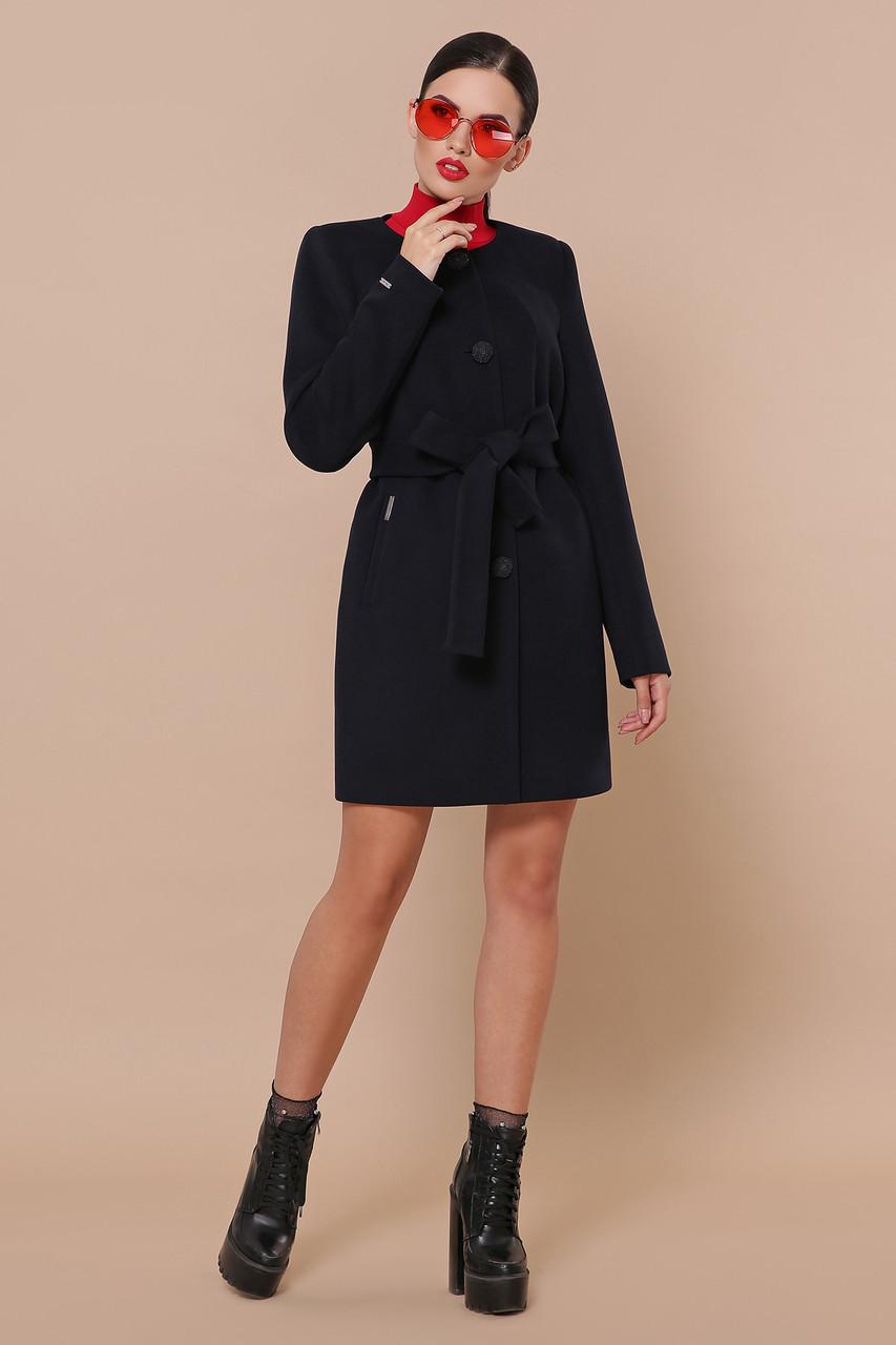 Короткое женское кашемировое пальто без воротника П-337-К цвет 5110 темно-синий