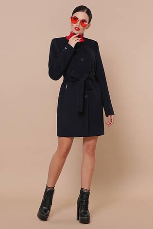 Короткий жіноче кашемірове пальто без коміра П-337-До колір 5110 темно-синій, фото 2