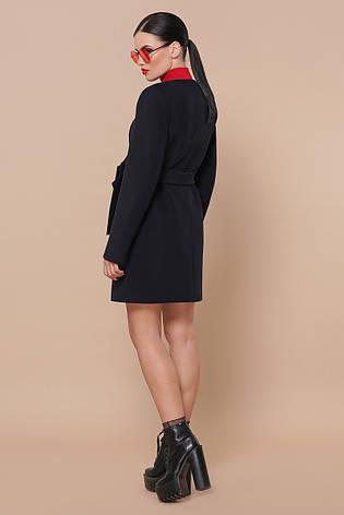 Короткое женское кашемировое пальто без воротника П-337-К цвет 5110 темно-синий, фото 2