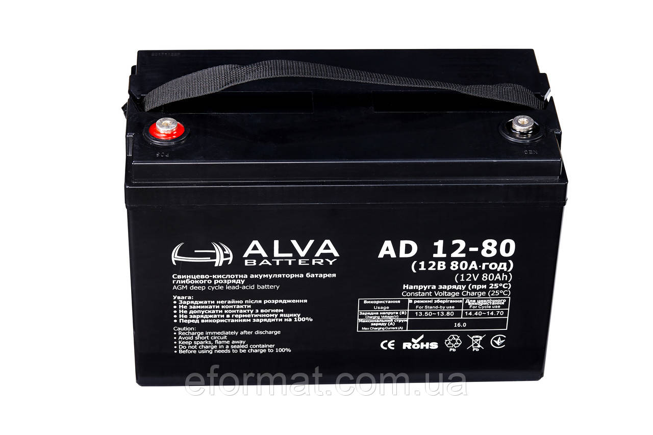 Аккумуляторная батарея ALVA battery AD12-80 AGM