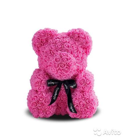 Мишка из роз 3D, фиолетовый, 25 см