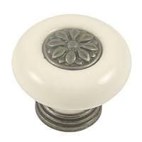 Ручка кнопка керамическая AMGP-011AG античное серебро, диаметр 38 мм