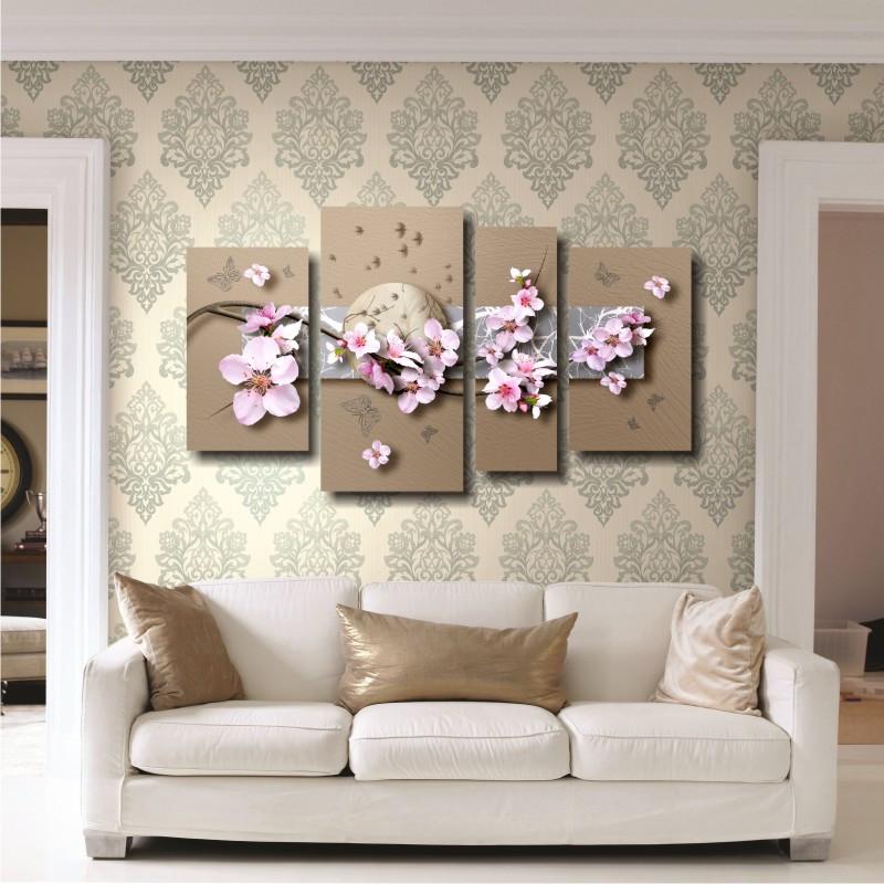 """Модульная картина на холсте """"Сакура и бабочки"""""""
