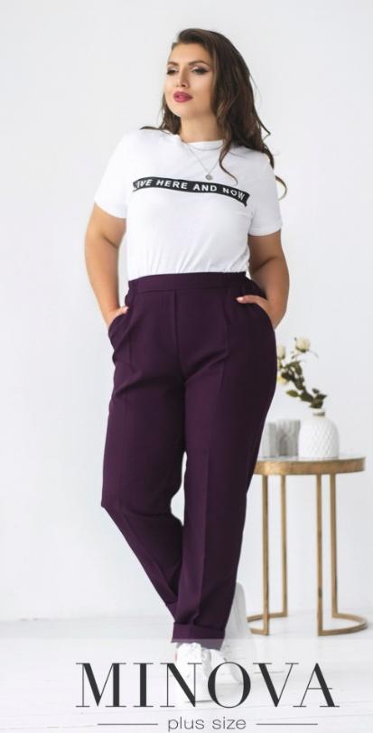Фіолетові жіночі брюки батал Розміри 48. 50. 52