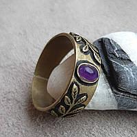 """Бронзовое кольцо """"Веточка"""" с натуральным камнем"""
