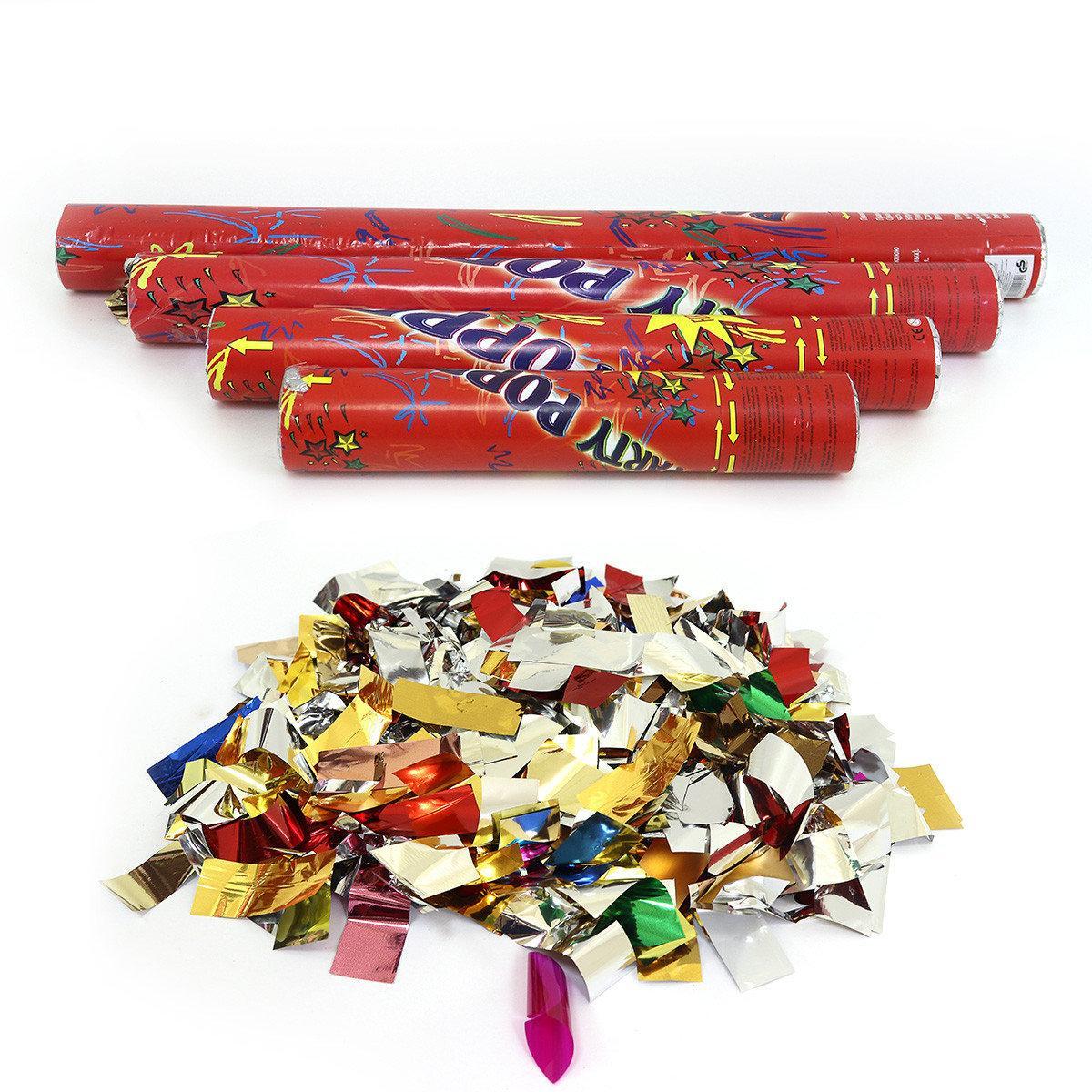Пневматическая хлопушка разноцветные фольгированные конфетти 50 см.