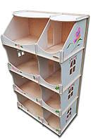 Кукольный домик-шкаф с росписью (белый)