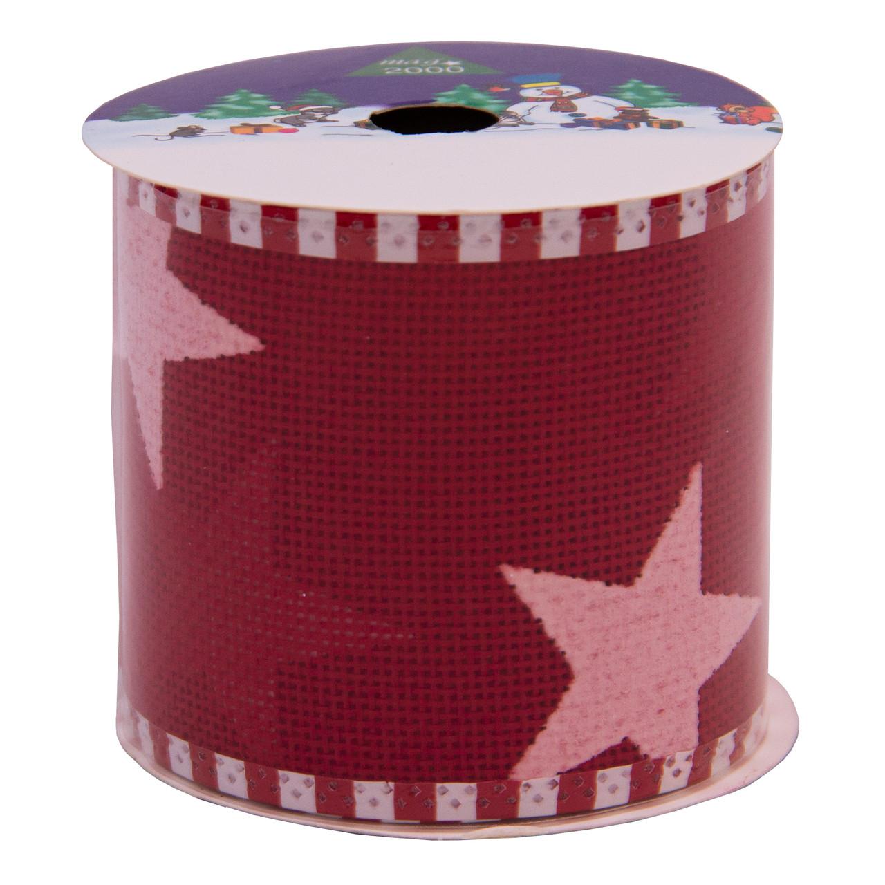 Лента декоративная из полиэстера в рулоне, 6, 3см*3 м, красная со звездочкой (080556-2)