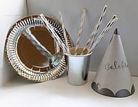 Набор посуды для праздника фольгированная серебро