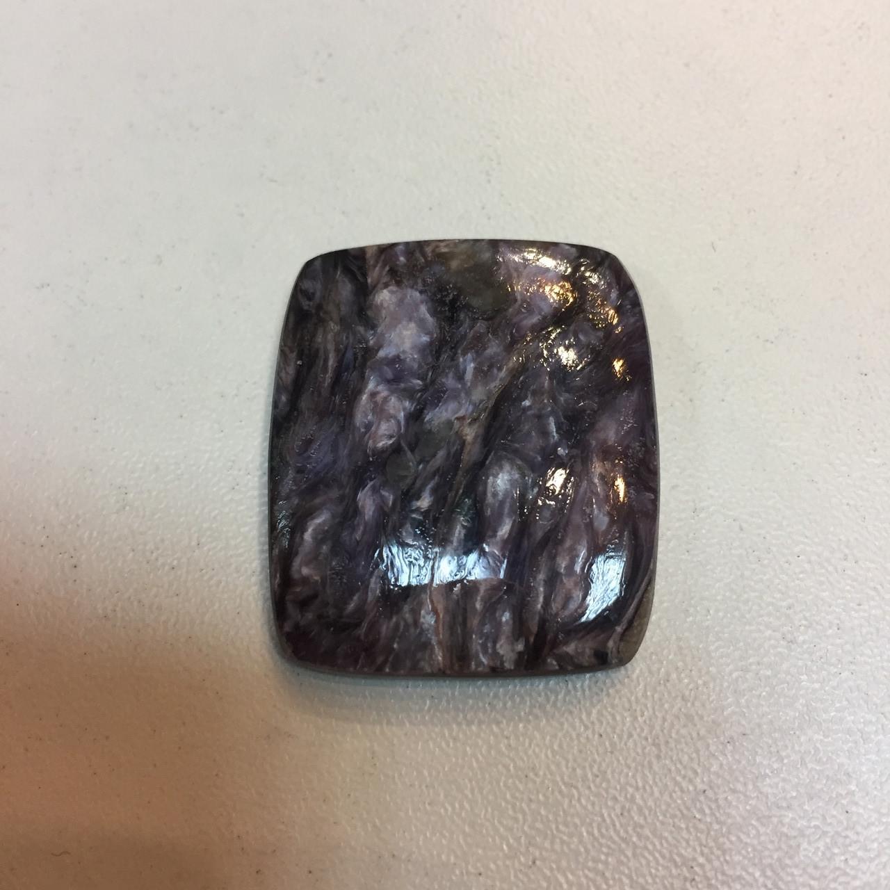 Чароит кабошон камень без оправы квадрат 28*32 мм., кабошон под изделие с натуральным чароитом Индия