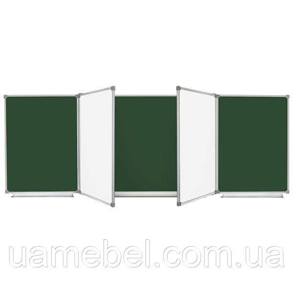 Школьная доска магнитная комбинированная, 7 поверхностная 400x100 см