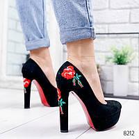Туфли женские Вышивка черные 8212